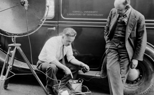 Peter Paul Kellogg and Albert R. Brand examining recording equipment