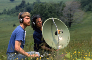 Mary Katz recording with Greg Budney at the 1987 Sound Recording Course