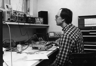 Robert Grotke at the audio engineer's bench