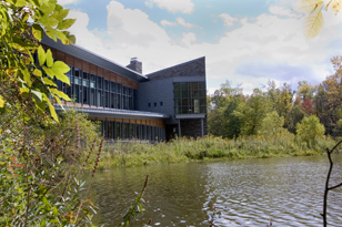 The Cornell Lab of Ornithology view from the pond in 2010
